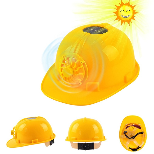 Solar Powered Hat with Cooling Cool Fan Safety Hat Helmet Hardhats Hard  Ventilate Cap