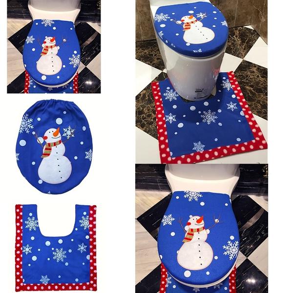 Enjoyable Christmas Bathroom 3Pcs Set Blue Tree Snowman Toilet Seat Cover Rug New Year Decorate Christmas Decoration New Cjindustries Chair Design For Home Cjindustriesco