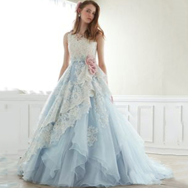 Women's Fashion Sleeveless Floral Lace Wedding Dresses Prom ...