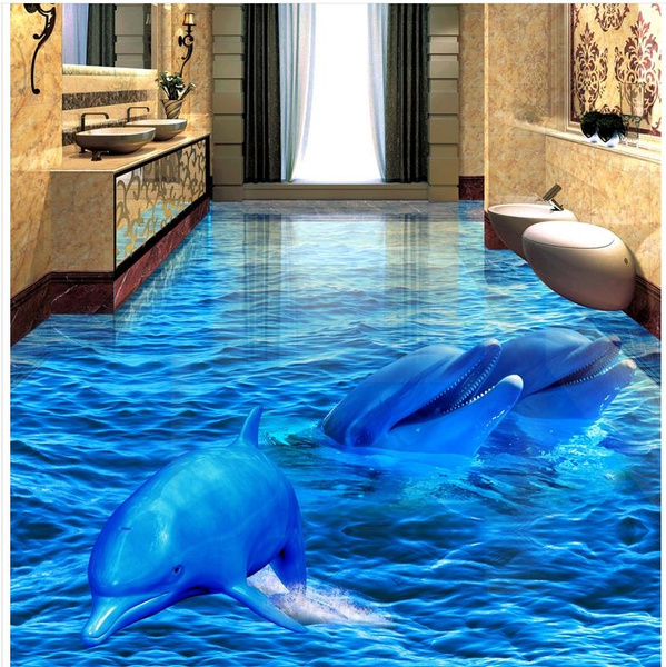 3d Dolphin Sea World Floor Mural Photo Flooring Wallpaper Wall Ceiling Decal Print Decal 3d Pvc Floor Wallpaper 3d Bathroom Living Room Floor Tiles