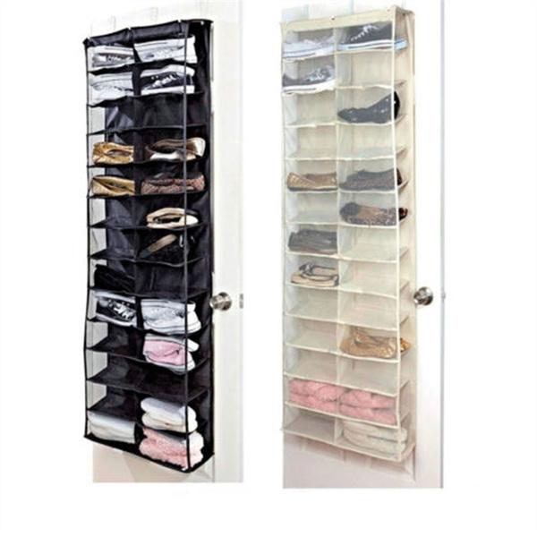 26 Large Pocket Over The Door Hanger Shoes Organizer Closet Shelves Rack Hanging Storage Space Saver
