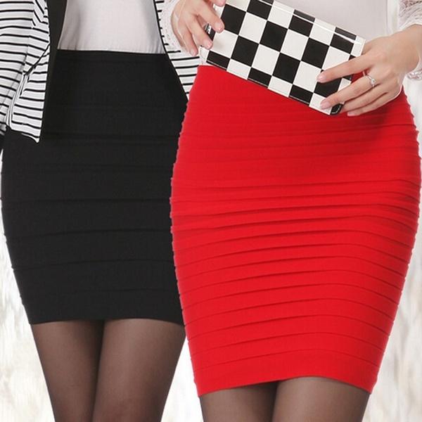 Mini, Fashion, high waist, Elastic