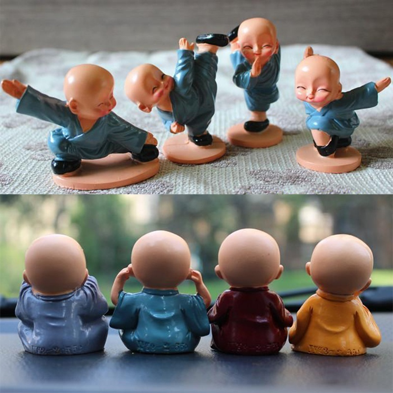 4x resin chinese shaolin kung fu monks ornament car room decor craft figurines ebay. Black Bedroom Furniture Sets. Home Design Ideas