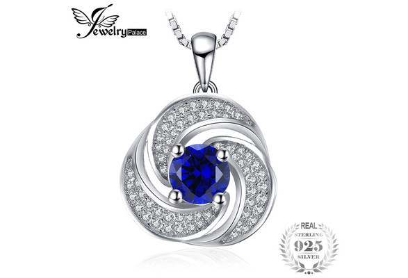 Luxury Jewelry 925 Sterling Silver Chain Necklace 1.9ct Created Sapphire Pendant