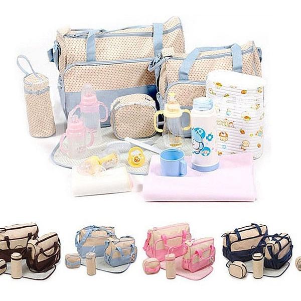 858458235de5 US STOCK 5 Pieces One set Baby Diaper Nappy Women's Handbag Tote Package  Diaper Bags Baby Mom Bag