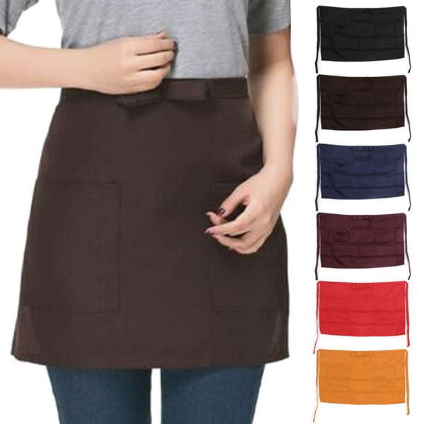 Half Short Waist Apron Waiter Waitress With Pockets Cafe Pub Restaurant Kitchen