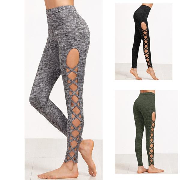 Womens Cutout Leggings Exercise Running