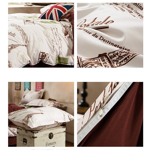 Wish Paris Eiffel Tower City Scenery Bedding Sets Duvet Cover Bed