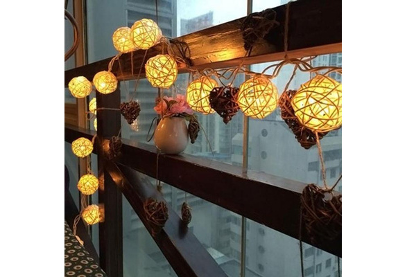 20 LED Rattan Ball String Fairy Lights For Xmas Wedding Party (color:white,yellow,multicolor)