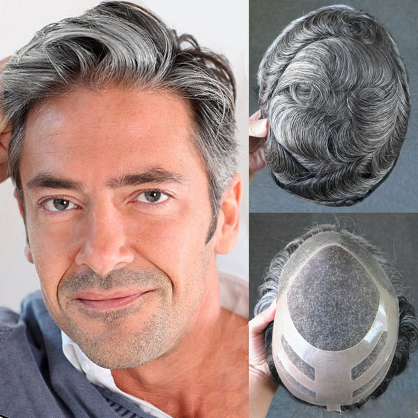 Top Mens toupee Human Hair replacement wig