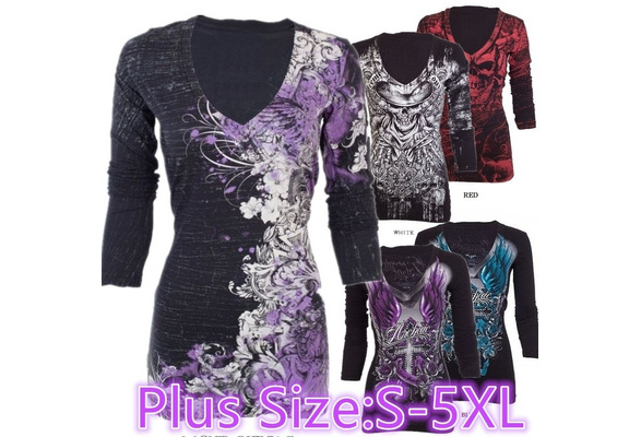 New Arrival Women's Casual V Collar Skull Print Punk Style Cotton T-shirt