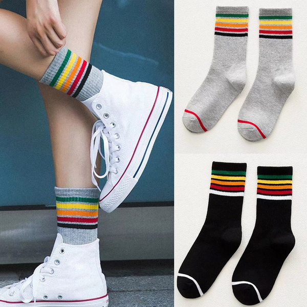 rainbow, Fashion, footballsock, thighhighsock