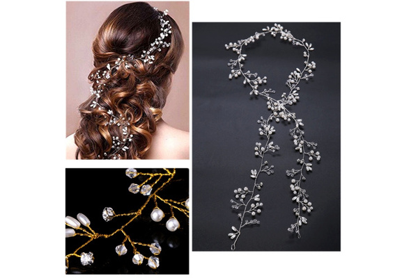 Luxury Wedding Bridal Rhinestone Faux Pearl Headband Tiara Hair Chain Headpiece FAI