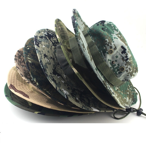 1e0536586 Unisex Bucket Hats Outdoor Jungle Military Camouflage Tactical Airsoft  Sniper Camouflage Boonie Hats Camo Hat Fishing Camping Barbecue Hiking  Mountain ...