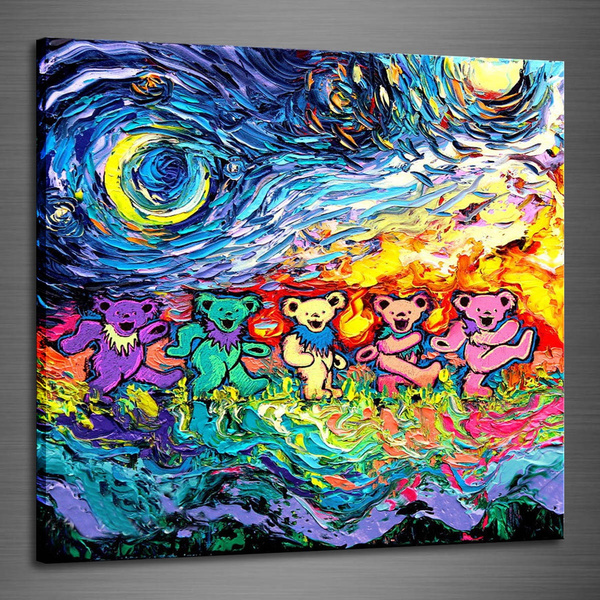 Home Decor Oil Painting HD Print Grateful Dead Dancing Bears Starry Night  Van Gogh on Canvas Modern Deco Wall Art,20x20inch Unframed ,(Only 16X16inch
