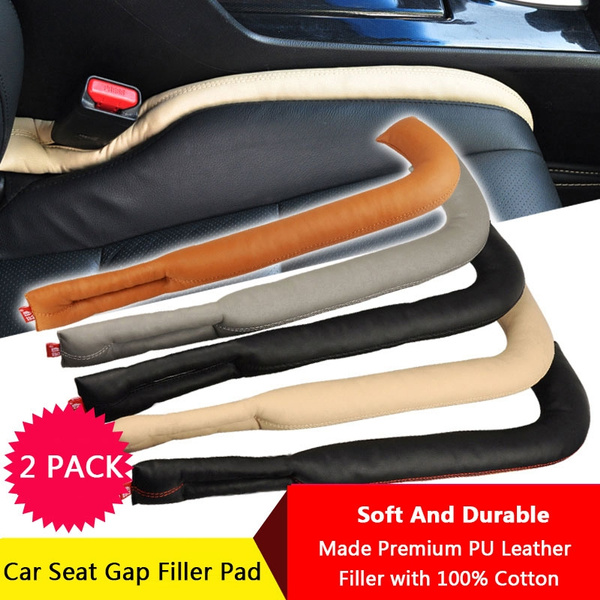 2Pcs New Design PU Leather Car Seat Gap Pad Filler Catcher,Soft Padding  with Front Bend Design Suitable For Most Vehicles Honda Hyundai Toyota Ford