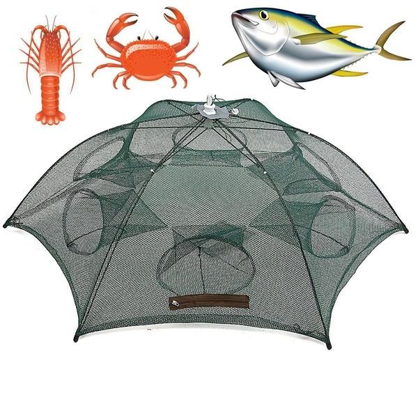 Portable Foldable Hexagon 6 Hole Automatic Fishing Shrimp Trap Fishing Net  Fish Shrimp Minnow Crab Baits Cast Mesh Trap