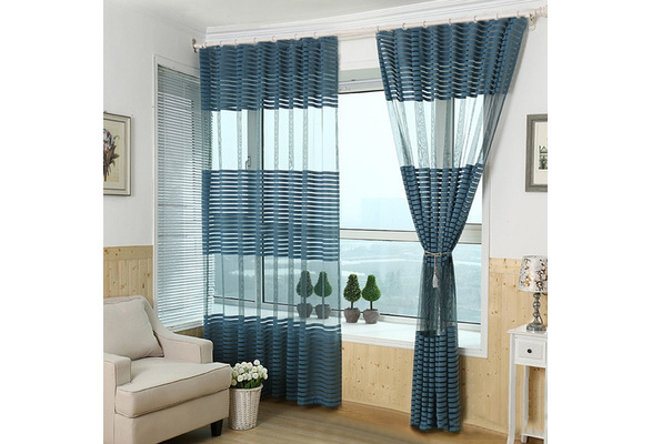 Simple Stripe Window Screening Transparent Tulle Curtains Living Room Balcony Curtain Home Decoration