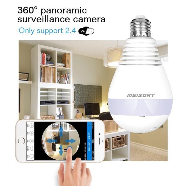 Best Ip Camera 360° Panoramic Wireless Hidden Camera With LED Lights Wi-fi  Fish-eye 960P 360 Degree Mini CCTV VR Camera