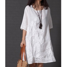 Summer, short sleeve dress, Shirt, Round Collar