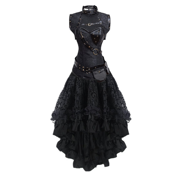 5bccee0c84f Women s Sexy Gothic Victorian Steampunk Corset Dress Leather ...