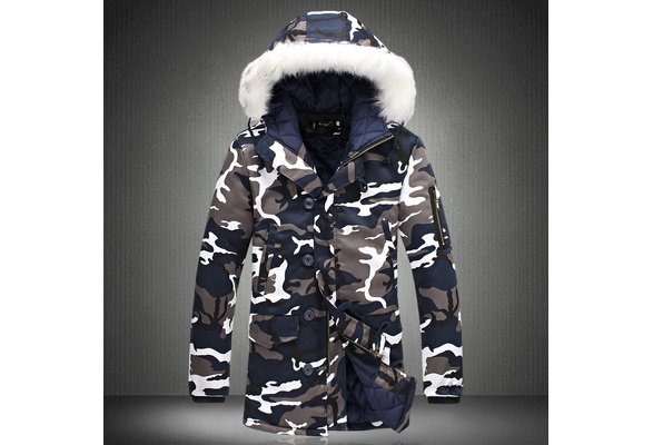 Winter Fashion Camouflage Parka Men Military Coat Men's Clothing Thick Cotton-padded Hooded Jacket