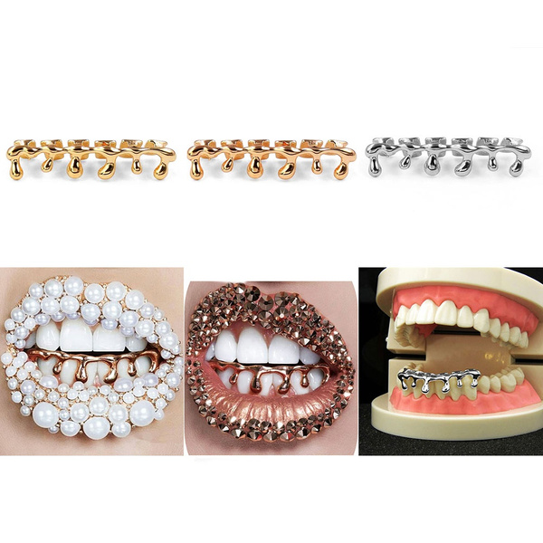 Hip-Hop Rose Gold Silver Bottom Brace Grill Dentures Teeth Cover Fake Tooth  Decor Fashion