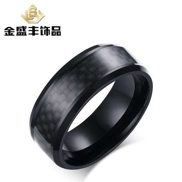 Mens Rings BASIC 8MM Wedding Band Black Pure Tungsten Carbide Engagement  Ring for Men Matte Brushed Center Jewelry Bague Homme