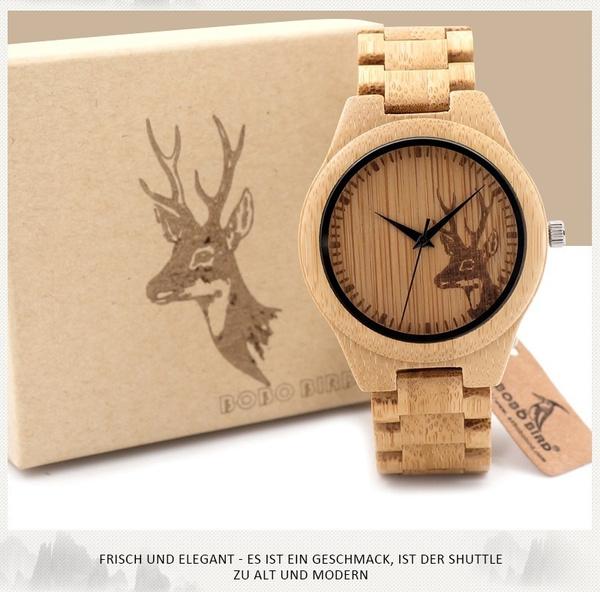 Wish Vogel Natürliche Bambus Holz Mit Hirsch Gravieren Bügel Passt Bbc0303 Color Brown 10236 Best
