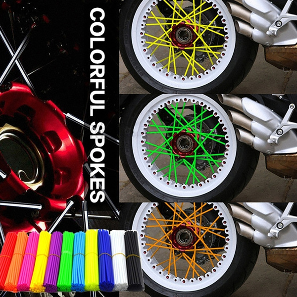 36Pcs Wheel Spoke Wraps Kit Rims Covers Skins Guard Protector For Motocross Bike