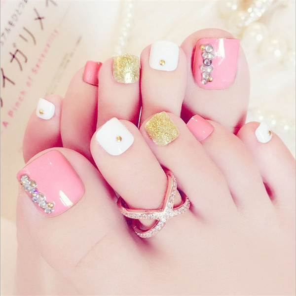 Wish | Stylish pink with diamond foot nails Lovely Toenails Nails ...