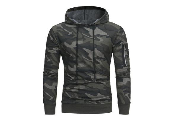 Autumn&winter Mens Hoodies Hooded Sweatshirt Zip Hoodie Cotton Pullover Camouflage Sweater Plus Size Coat