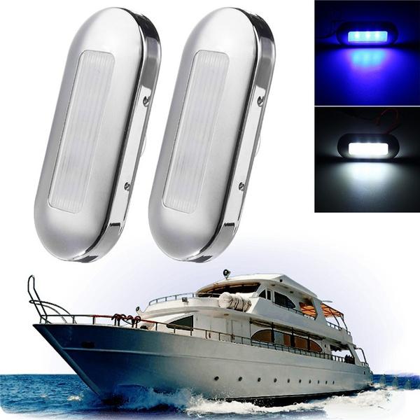 4X Marine Boat White LED Courtesy Lights Stair Deck Garden Light Stainless Steel