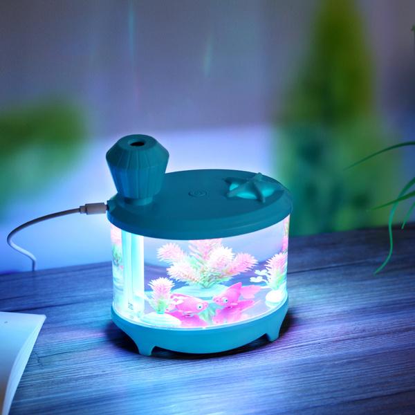 YYH Luftbefeuchter, 460ml Aquarium USB Luftbefeuchter mit LED Licht gehen  für Wohnzimmer, Kinderzimmer, Schlafzimmer, Baby- und Yogazimmer, SPA, Büro  ...