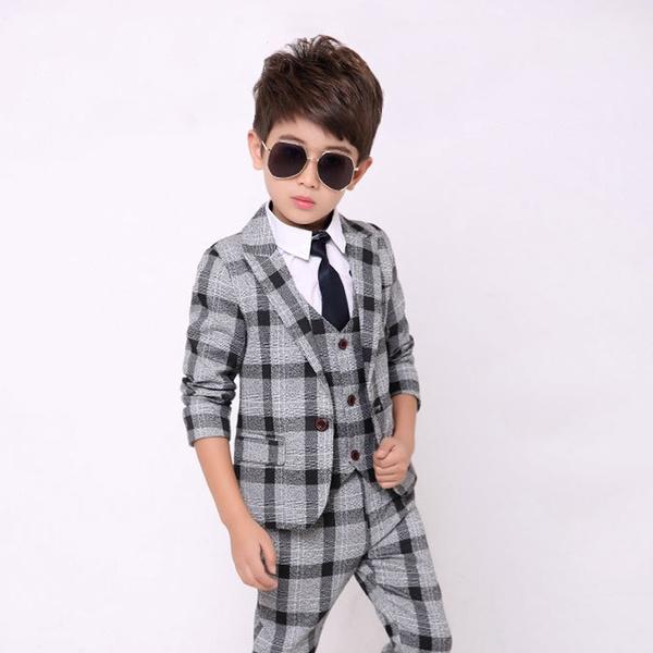 Wish | Boys Suit for Wedding Kids Tuxedo Suits Fashion Plaid Blazer ...