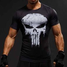 Мода, tshirt men, skull, Fitness