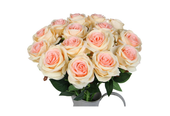 Artificial Silk Rose Flower Bouquet Fake Flowers for Wedding Party Home Decor, Pack of 10