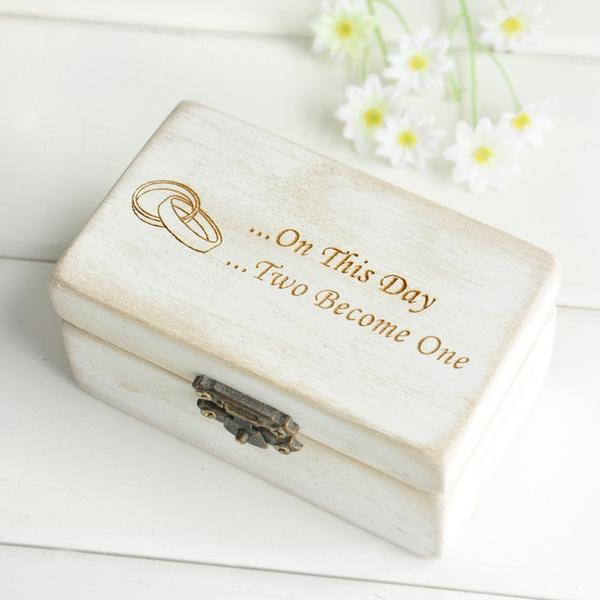 Vintage Wooden Wedding Ring Bearer Box Engagement Ring Holder Jewelry Ring Box