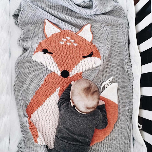 Wish Fox Pattern Three Dimensional Ears Blanket Baby Knitted