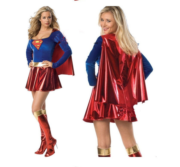 Supergirl Ladies Fancy Dress Superhero Womens Adults Super Girl Costume Outfit