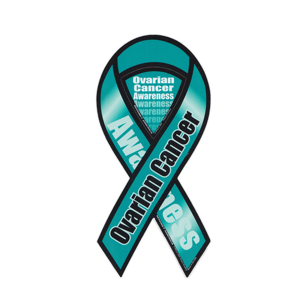 Magnetic Bumper Sticker Ovarian Cancer Awareness Ribbon Support Magnet 4 X 8 Wish