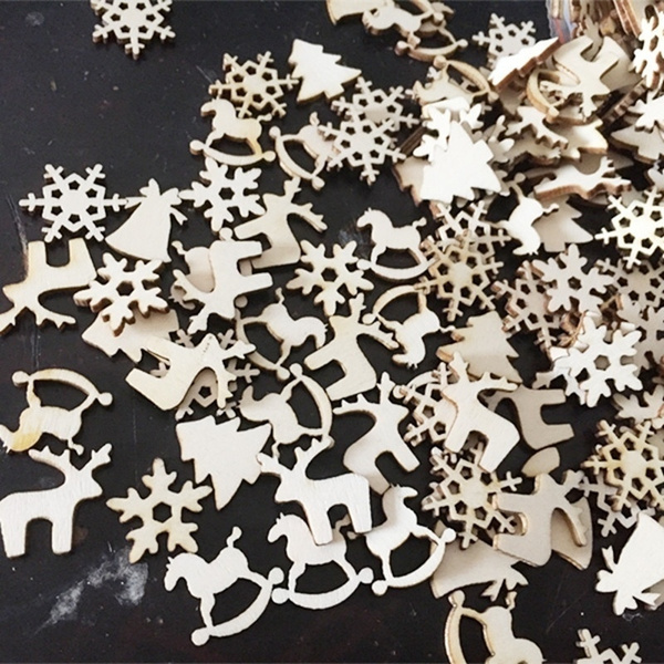 50pcsset 5 Designs Natural Wooden Christmas Ornaments Reindeer Snowflakes Tree Rocking Horse