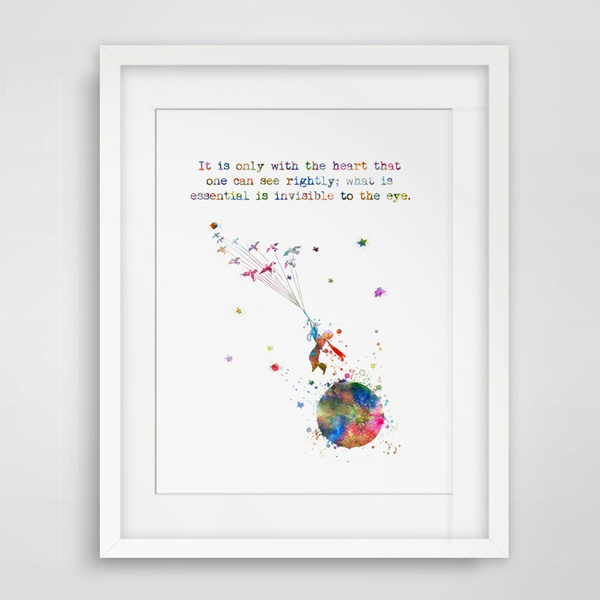 The Little Prince Quotes Poster Nursery Art Print Kids Bedroom Le Petit  Prince Wall Art Painting Flying with The Birds Unique Children Back To  School ...