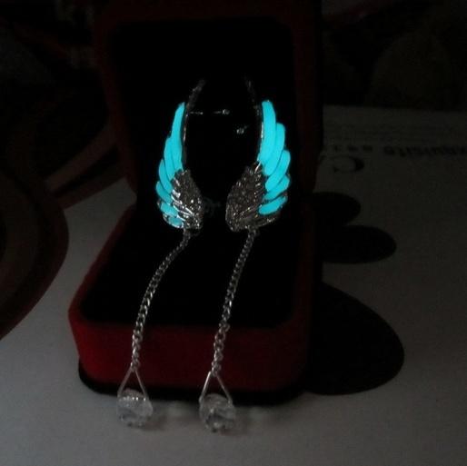 570f88560 925 Sterling Silver Angel Wing Stylist Crystal Earrings Luminous ...