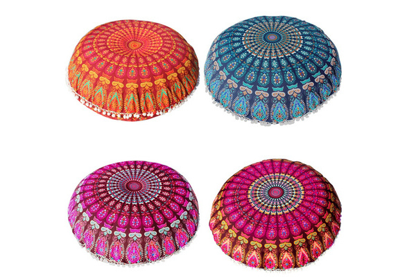 big promotion ! Large Mandala Floor Pillows Round Bohemian Meditation Cushion Cover Ottoman Pouf