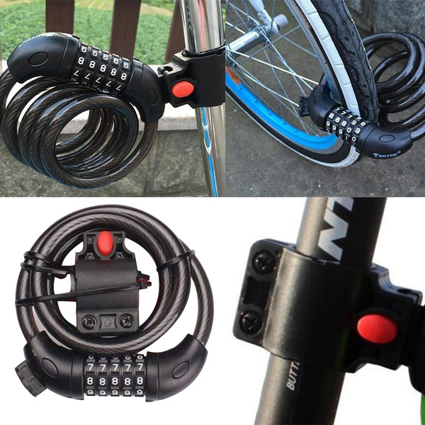 Bicycle Bike Security Steel Wire Lock Cable Chain Anti Theft Password Lock