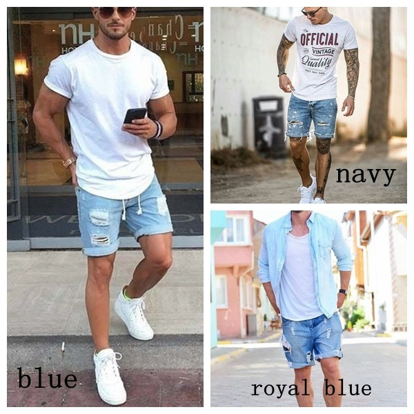 686df54d06 Plus Size Men Short Jeans Men's Fashion Denim Pants Men Short Pants ...