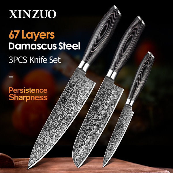 XINZUO 3 pcs kitchen knives set 67 layers Japanese Damascus kitchen knife  set 10Cr15CoMoV chef utility knives Professional Chef Knife with k133 wood  ...