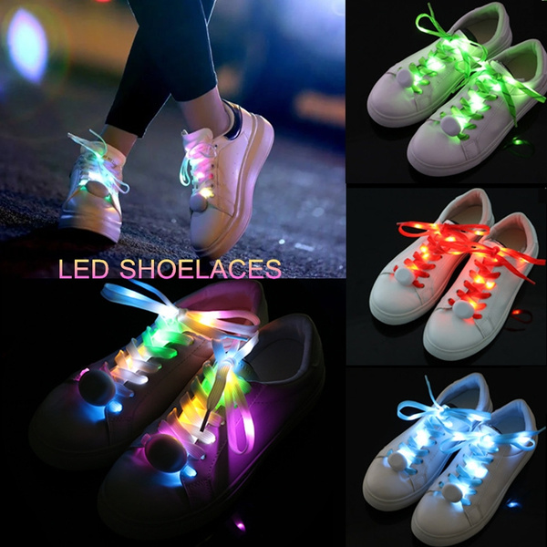 LED 7 Color Change Shoelace Luminous Glow Light Up Nylon Strap Night Club Party