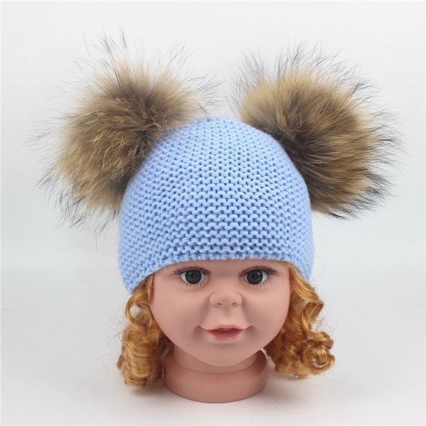 923a1a9fd Winter Baby Knit Hat With Two Fur Pompoms Boy Girls Natural Fur Ball Beanie  Kids Caps Double Real Fur Pom Pom Hat for Children